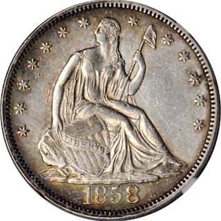 1858 Liberty Seated Half Dollar. Type I Reverse. AU-53 (NGC).