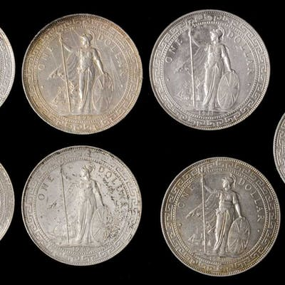 GREAT BRITAIN. Sextet of Trade Dollars (7 Pieces), 1899-1930. Average