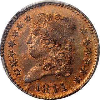 1811 Classic Head Half Cent. Mickley Restrike. Rarity-7. MS-65+ RB (PCGS).