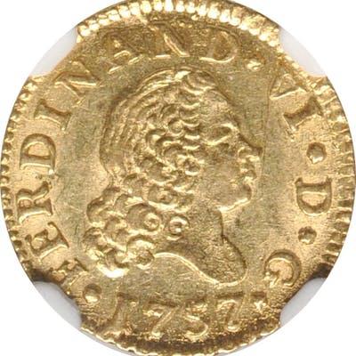 SPAIN. 1/2 Escudo, 1757-M JB. Madrid Mint. Ferdinand VI. NGC MS-63.