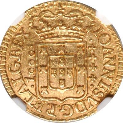 PORTUGAL. 1000 Reis, 1741. Lisbon Mint. Joao V. NGC AU-58.