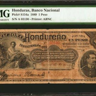 HONDURAS. Banco Nacional. 1 Peso, 1889. P-S154a. PMG Choice Fine 15.