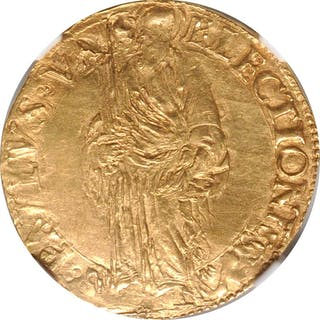 ITALY. Papal States. Scudo d'Oro, ND (1534-49). Paul III. NGC MS-61.