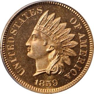 1859 Indian Cent. Snow-PR2. Proof-66 Cameo (PCGS). CAC.
