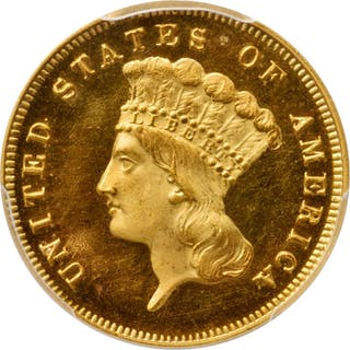 1874 Three-Dollar Gold Piece. JD-1, the only known dies. Rarity-6+.
