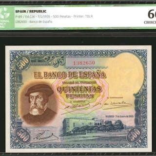 SPAIN. Banco de Espana. 500 Pesetas, 1935. P-89. ICG Choice Uncirculated 66.