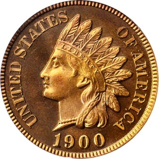 1900 Indian Cent. Snow-PR3. Proof-67 RD Cameo (PCGS). CAC.