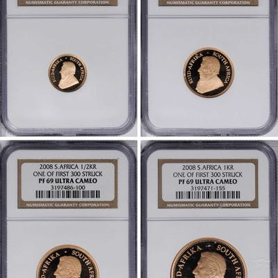 SOUTH AFRICA. Gold Proof Set (4 Pieces), 2008. All NGC PROOF-69 Ultra Cameo.