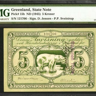 GREENLAND. State Note. 5 Kroner, ND (1945). P-15b. PMG Choice Extremely
