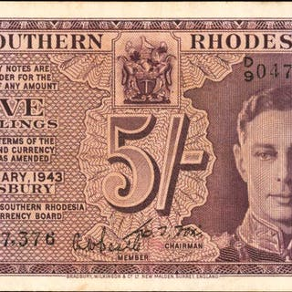 SOUTHERN RHODESIA. Southern Rhodesia Currency Board. 5 Shillings