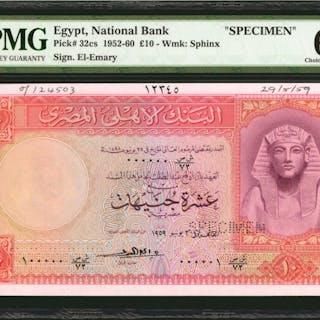 EGYPT. National Bank of Egypt. 10 Pounds, 1952-60. P-32cs. Specimen.