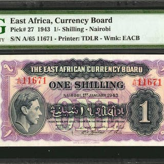 EAST AFRICA. East African Currency Board. 1 Shilling, 1943. P-27.