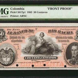 COLOMBIA. Banco de Rio Hacha. 50 Centavos, 1883. P-S817p1. Front Proof.