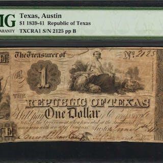 Austin, Texas. Republic of Texas. 1839-41  $1. PMG Very Fine 25.