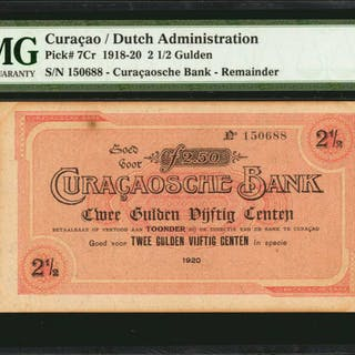 CURACAO. Dutch Administration. 2 1/2 Gulden, 1918-20. P-7Cr. Remainder.