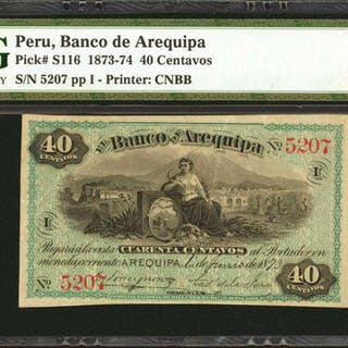 PERU. Banco de Arequipa. 40 Centavos, 1870's Issue. P-S116. PMG Choice