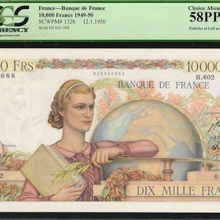 FRANCE. Banque de France. 10,000 Francs, 1950. P-132b. PCGS Currency