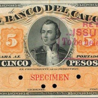 COLOMBIA. Banco del Cauca. 5 Pesos, ND (188x). P-S359s. Specimen.