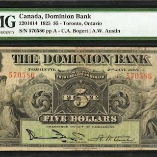 CANADA. Dominion Bank. 50C, 1925. CH #2201614. PMG Very Fine 25.