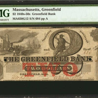 Greenfield, Massachusetts. Greenfield Bank. 1855. $2. PMG Very Fine 30.