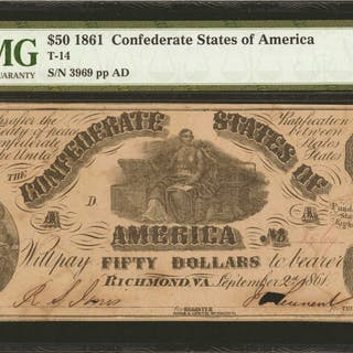 T-14. Confederate Currency. 1861 $50. PMG Uncirculated 61.