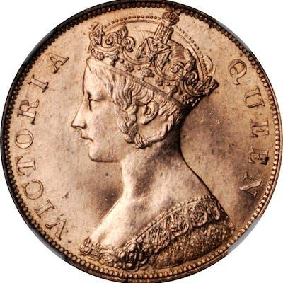 HONG KONG. Cent, 1865. Victoria. NGC MS-65 Red.