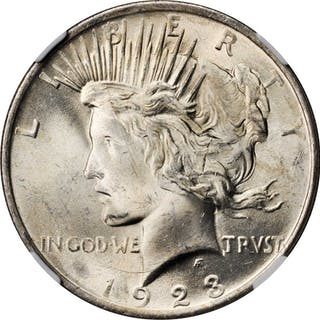 1923 Peace Silver Dollar. VAM-1V. Top 50 Variety. Extra Hair. MS-65 (NGC).