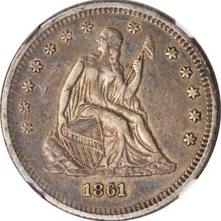 1861 Liberty Seated Quarter. EF-45 (NGC).