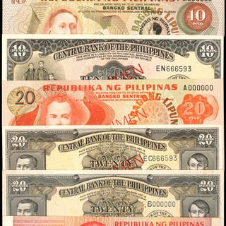 PHILIPPINES. Mixed Banks. 5 to 50 Pisos, Mixed Dates. P-Various. Specimens.