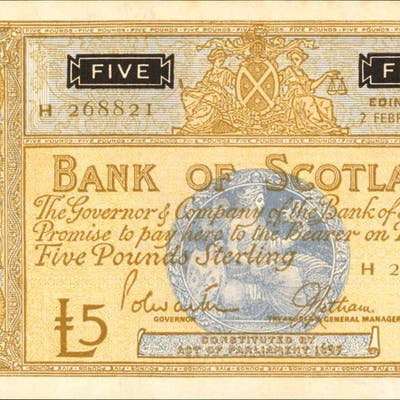 SCOTLAND. Bank of Scotland. 5 Pounds Sterling, 1967. P-106c. About