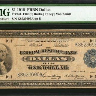 Fr. 741. 1918 $1  Federal Reserve Bank Note. Dallas. PMG Very Fine 20.