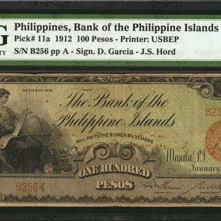 PHILIPPINES. Bank of the Philippine Islands. 100 Pesos, 1912. P-11a.