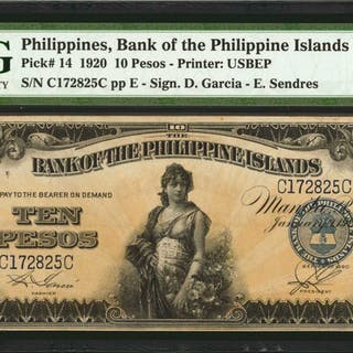 PHILIPPINES. Bank of the Philippine Islands. 10 Pesos, 1920. P-14.