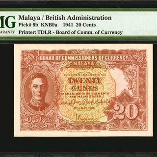 MALAYA. Board of Commissioners of Currency. 20 Cents, 1941. P-9b.