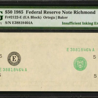 Fr. 2122-E. 1985 $50 Federal Reserve Note. Richmond. PMG Gem Uncirculated