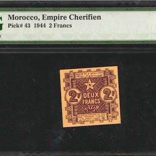 MOROCCO. Empire Cherifien. 2 Francs, 1944. P-43. PMG Gem Uncirculated 65 EPQ.