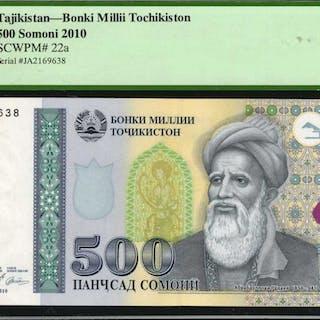 TAJIKISTAN. Bonki Millii Tochikiston. 500 Somoni, 2010. P-22. PCGS
