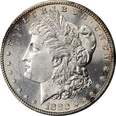 1880-S Morgan Silver Dollar. VAM-10. Top 100 Variety. 8/7, Crossbar