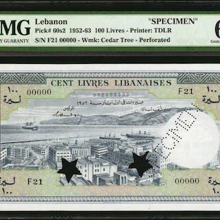 LEBANON. Banque de Syrie et du Liban. 100 Livres, 1952-63. P-60s2.