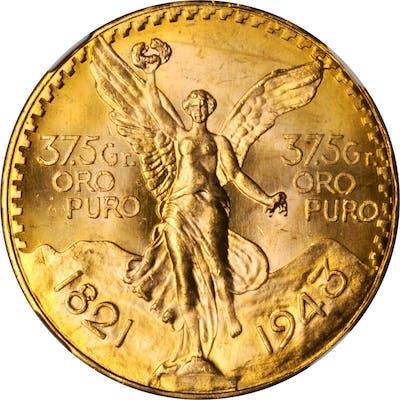 MEXICO. 50 Pesos, 1943. Mexico City Mint. NGC MS-65.