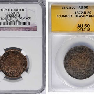 ECUADOR. Centavo and 2 Centavos (2 Pieces), 1872-H. Heaton Mint. Both