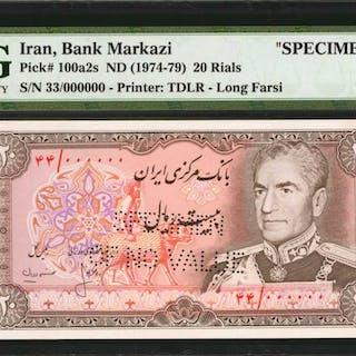 IRAN. Bank Markazi. 20 Rials, ND (1974-79). P-100a2s. Specimen. PMG
