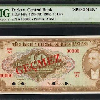 TURKEY. Central Bank of Turkey. 10 Lira, 1930 (ND 1948). P-148s. Specimen.