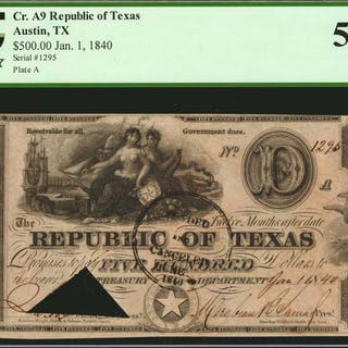 Austin, Texas. Republic of Texas. 1840  $500. PCGS Currency About