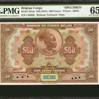 BELGIAN CONGO. Banque du Congo Belge. 500 Francs, ND (1941). P-18Aas.