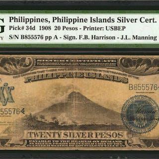 PHILIPPINES. Philippine Islands Silver Certificate. 20 Pesos, 1908.