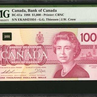CANADA. Bank of Canada. 1000 Dollars, 1988. BC-61a. PMG Gem Uncirculated