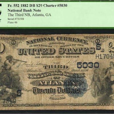 Atlanta, Georgia. $20 1882 Date Back. Fr. 552. The Third NB. Charter