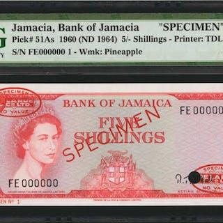 JAMAICA. Bank of Jamaica. 5 Shillings, 1960 (ND 1964). P-51As. Specimen.