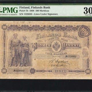 FINLAND. Finlands Bank. 100 Markkaa, 1898. P-7b. PMG Very Fine 30.